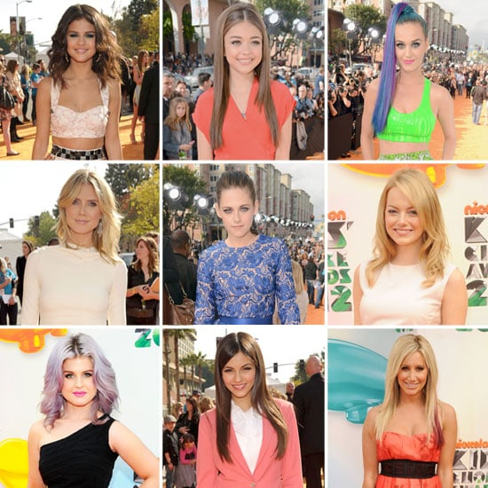 All the Celebrity Dress Credits from the 2012 Nickelodeon Kids' Choice Awards Red Carpet: Kristen Stewart, Emma Stone & more!