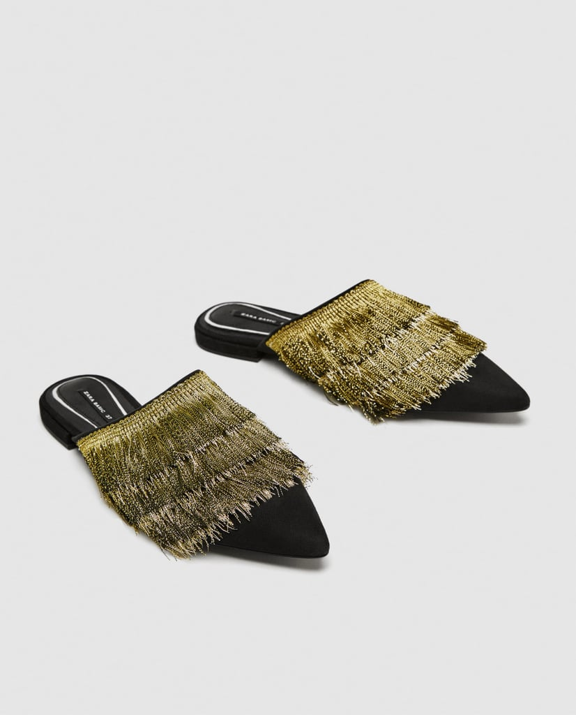Zara Flat Mules With Fringe