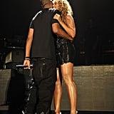 Jay Z grabbed Beyoncé for a hug at Yankee Stadium after she performed in September 2010.