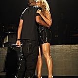 Jay Z grabbed Beyoncé for a hug at Yankee Stadium after she performed in September 2010.
