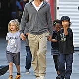 Brad Pitt left an LA movie theater with Shiloh Jolie-Pitt, Zahara Jolie-Pitt, Pax Jolie-Pitt, and Maddox Jolie- Pitt.