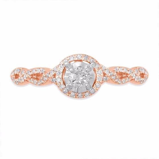 Diamond Halo Ring by Helzberg Diamonds   Unique Rose Gold