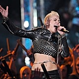 Miley Cyrus wore a leather outfit.