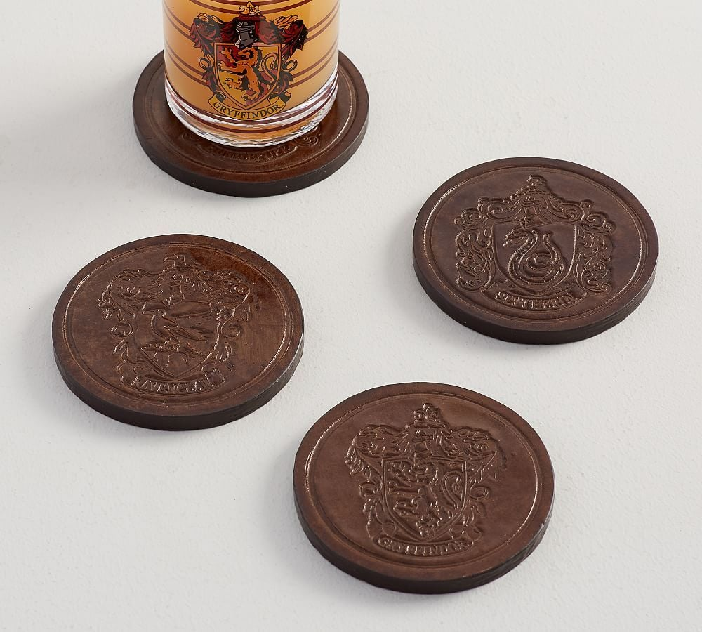 House Crest Leather Coasters