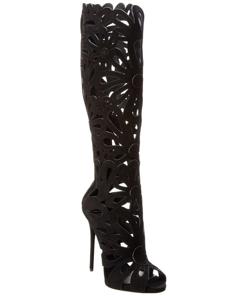 Giuseppe Zanotti Floral Cutout Suede Knee-high Boot.