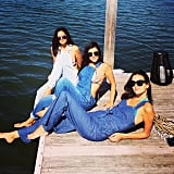 Kourtney Kardashian hung out with friends in her bikini and overalls. Source: Instagram user kourtneykardash