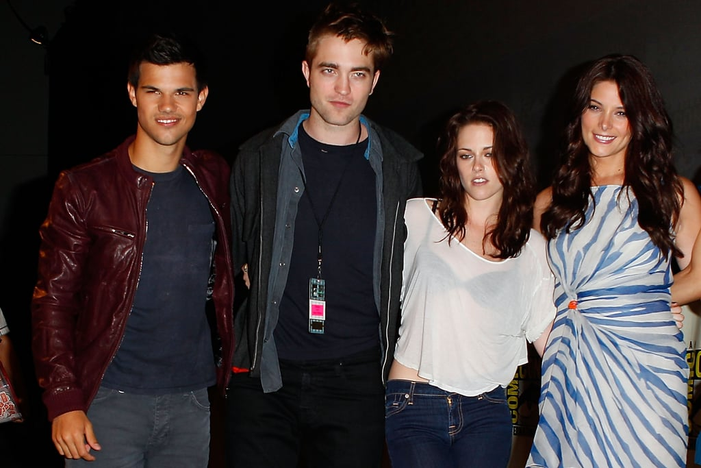 Taylor Lautner, Robert Pattinson, Kristen Stewart and Ashley Greene all posed together in 2011.