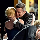 Ethan Hawke congratulated Patricia Arquette on her win for Boyhood.