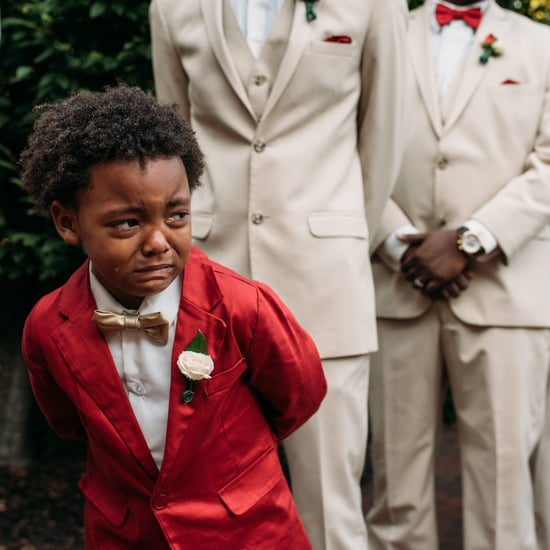 Photo of Boy Crying When His Mum Walks Down the Aisle