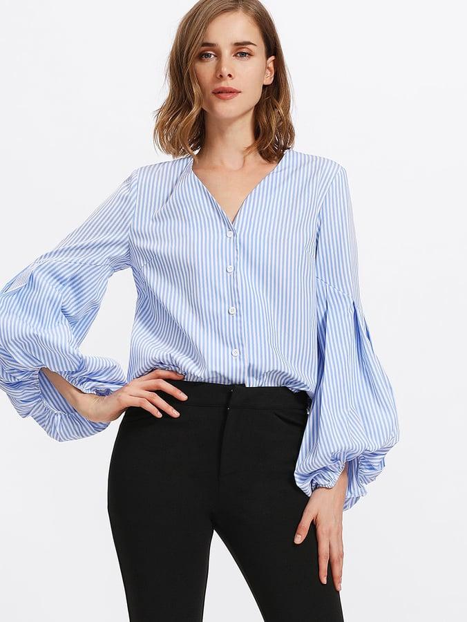 75da38f3b747e5 Shein Pleated Sleeve Striped Blouse