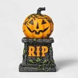 Lit Pumpkin Halloween Tombstone