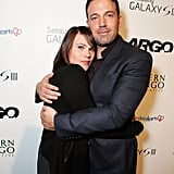 Ben Affleck gave actress Clea Duvall a hug.