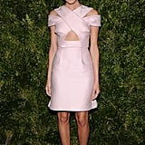 Allison Williams wore a pink dress at the CFDA/Vogue Fashion Fund Awards in NYC.