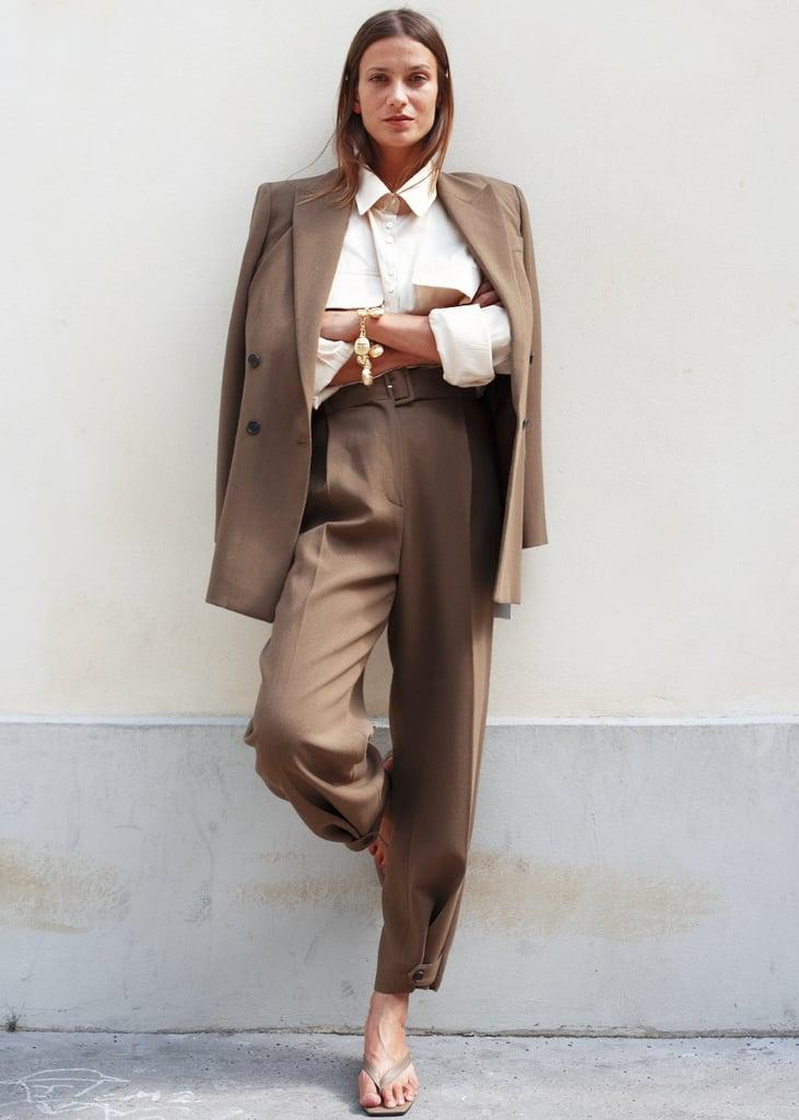Frankie Shop Double Breasted Suit Blazer in Cedar Brown