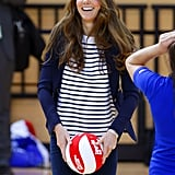 Kate Middleton let loose during her first official solo appearance since giving birth to Prince George.