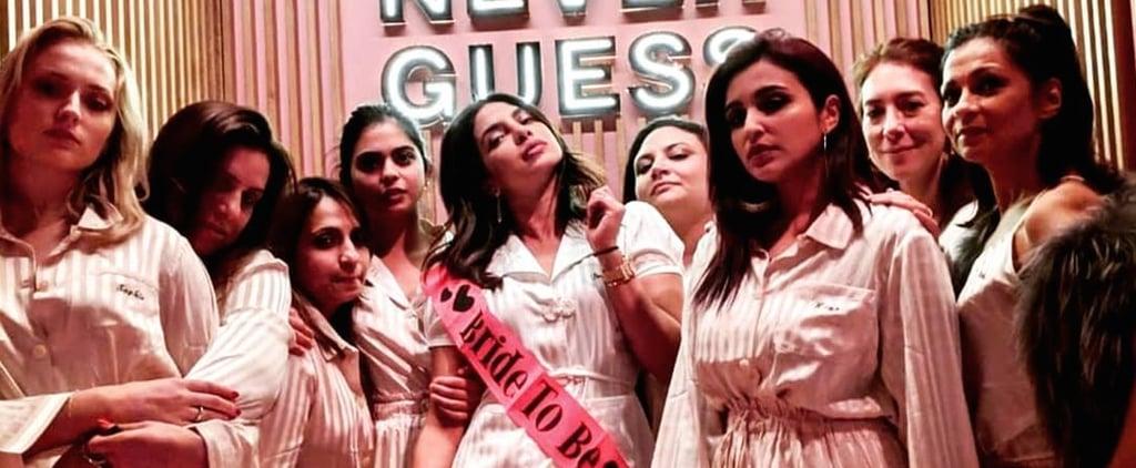 Priyanka Chopra Pink Striped Pajamas at Bachelorette Party