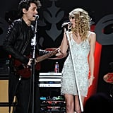 John Mayer and Taylor Swift shared the stage during the December 2009 Z100 Jingle Ball held in NYC.