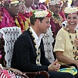Kate laughed while enjoying the show in Tuvalu.