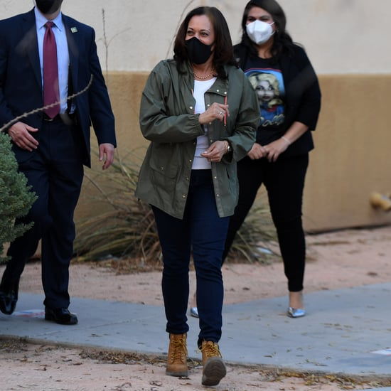 Kamala Harris Wears Timberland Boots With a Green Parka