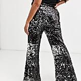 Skylar Rose Flared Pants in Sleek Sequin Two-Piece