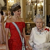 Queen Letizia's Off-the-Shoulder Red Gown July 2017