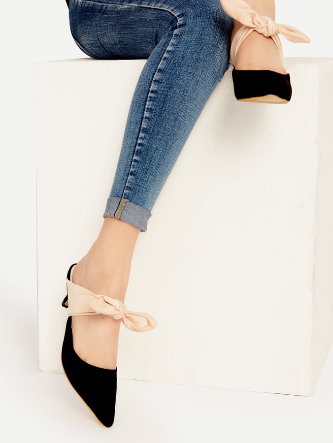 Shein Black Point-Toe Contrast Bow-Tie Heeled Mules