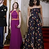 Wearing Jason Wu at the Canada state dinner in 2016.