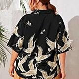 Shein Crane Print Revere Collar Shirt