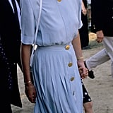 Sporting her favourite aviators once again, Diana wore a matching cornflower blue blouse and pleated skirt to the Windsor Polo.