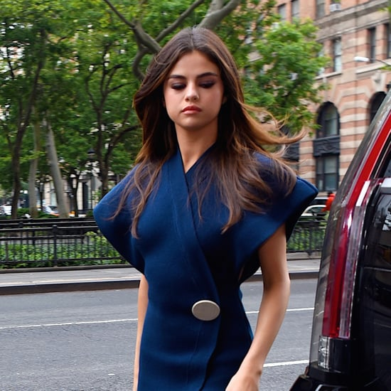 Selena Gomez Navy Wrap Dress