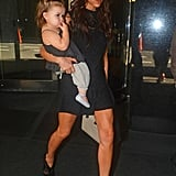 Victoria Beckham walked with her daughter Harper Beckham.
