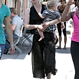 January Jones wore an all-black ensemble as she carried Xander.