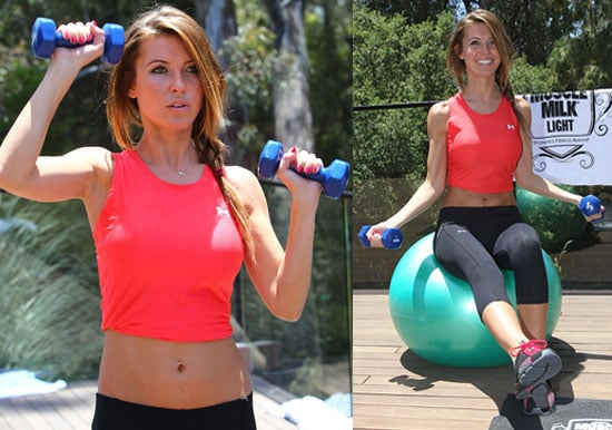 Pictures of Audrina Patridge in Cut Off Top Showing Abs at a Muscle Milk Event News About Ryan Cabrera Split