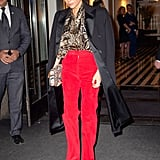 Victoria Beckham Red Pants and Snakeskin Blouse January 2019