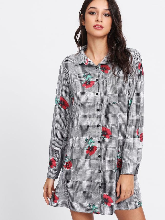 abb26add23 Shein Plaid and Flower Print Shirt Dress | Cute Dresses From Shein ...