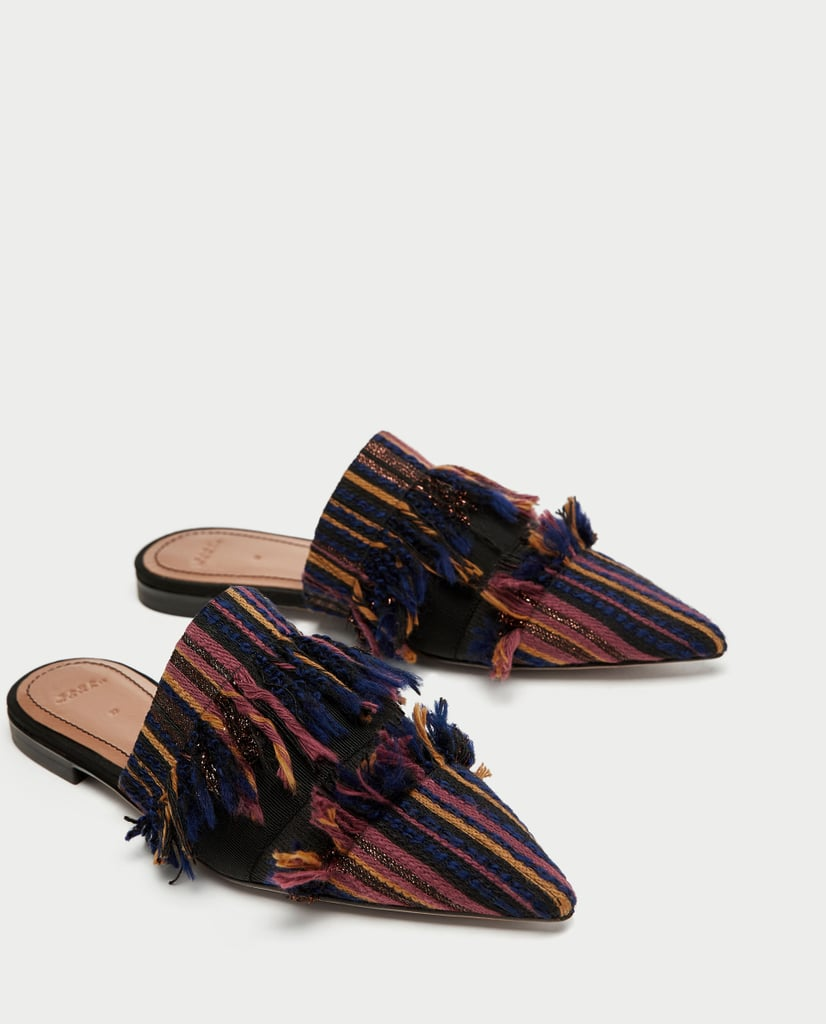 Zara Flat Frayed Fabric Mules