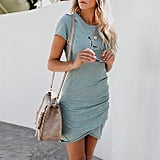 UPhitnis Casual Ruched T-Shirt Dress