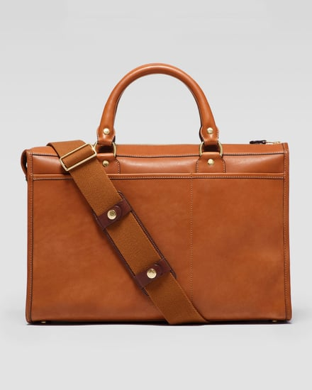 Ghurka Examiner 2-Pocket Leather Briefcase, Chestnut
