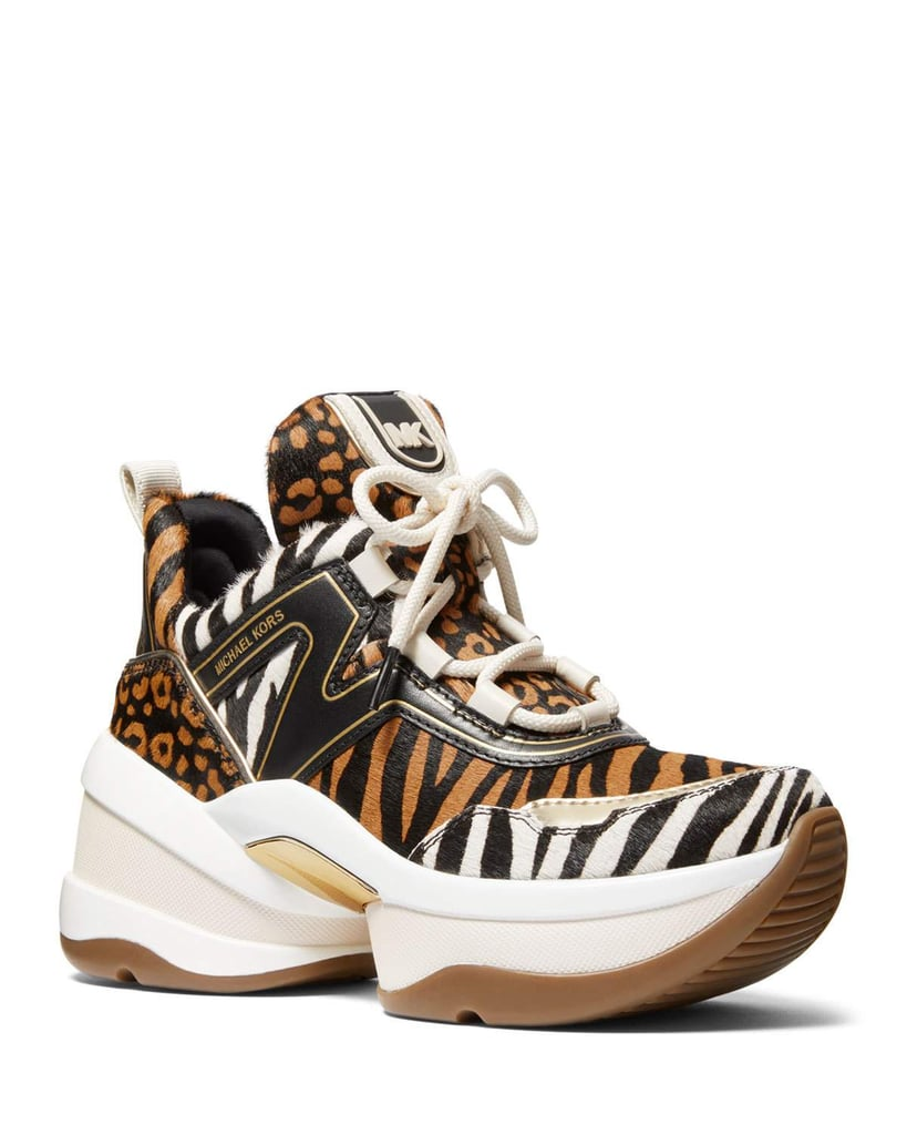 Michael Michael Kors Olympia Mixed Animal-Print Trainer Sneakers