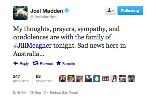 Joel Madden mourned for Jill Meagher along with the rest of the nation.