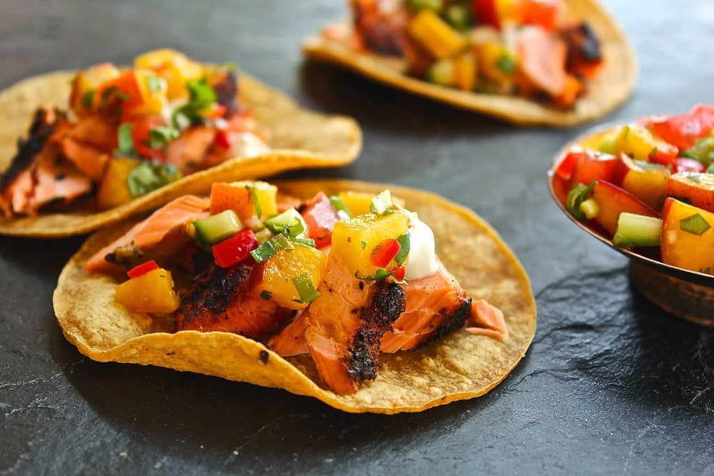 Grilled Salmon Tacos With Peach and Cucumber Salsa
