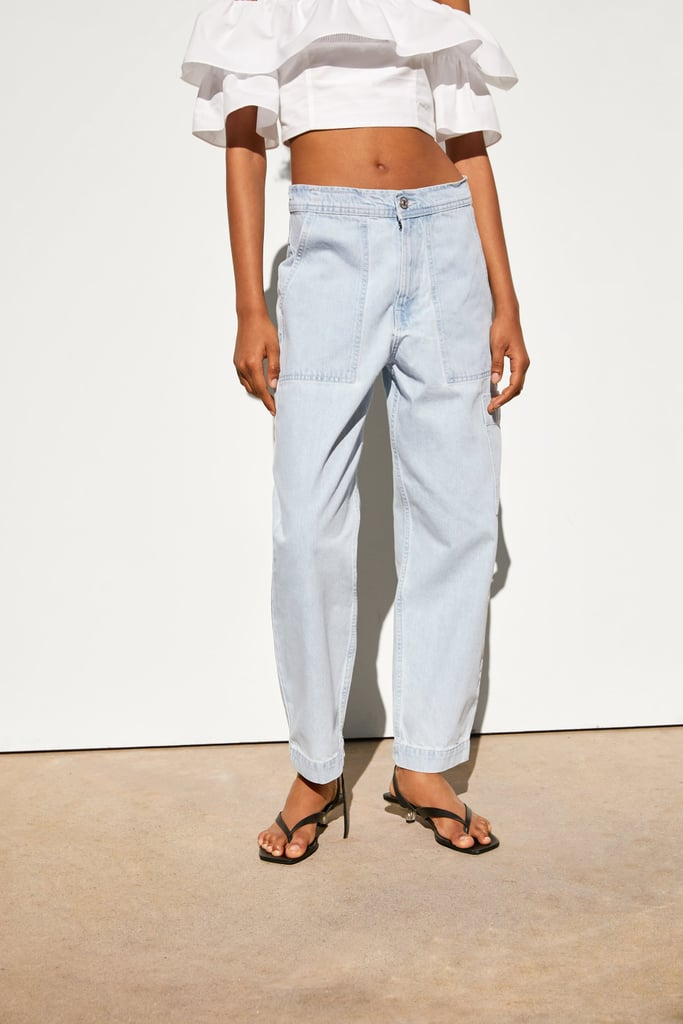 Zara Denim Pants With Pockets