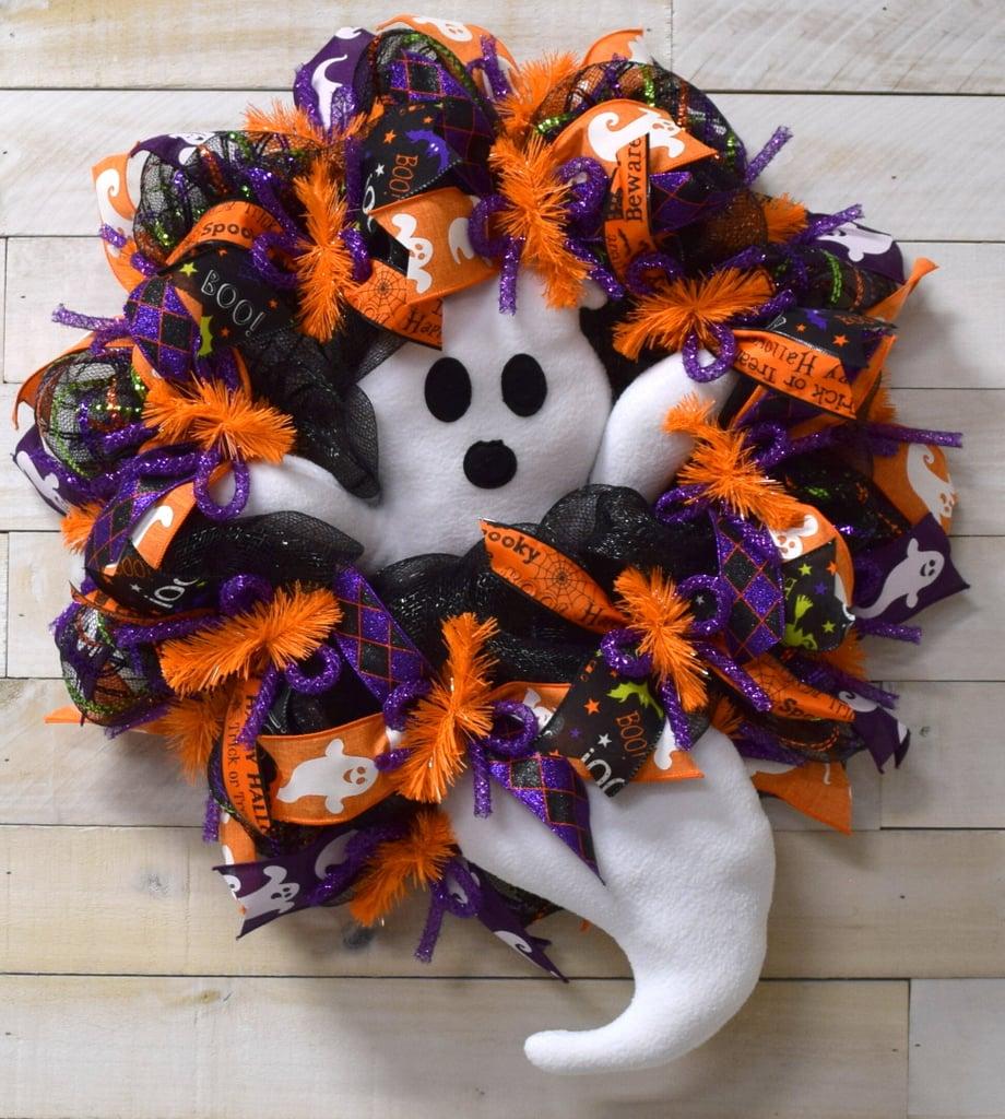 "Halloween Ghost 24"" Deco Mesh Wreath"