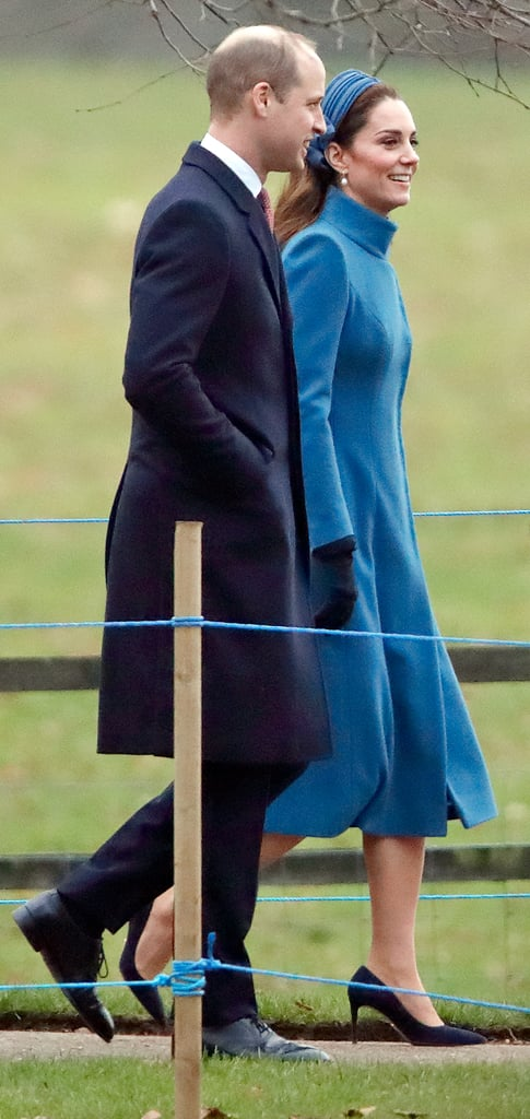 The Duke and Duchess of Cambridge made another church visit on Sunday, following on from the royal family's Christmas Day church visit in Sandringham. On Sunday, the couple headed back to the same church, St. Mary Magdalene, walking side by side with wide grins. Kate wore a blue coat — the same one she wore during a trip to Norway last year — over a black and white polka-dot dress. (Evidently, her new year trip is quite different to her younger sister, Pippa, who started off 2019 with a trip to St. Barts.) Meanwhile, William wore a blue coat and trousers with a white button-down shirt. The two are coming off an exciting year. In April 2018, Kate gave birth to their third child, Prince Louis. They also attended several events to raise awareness for social issues, such as cyberbullying, and were at the opening of a new technology centre. Oh, and they even had some time for a little snowball fight. But we're expecting to see even more sweet moments between Kate and William in 2019, starting with their recent church visit. See more pictures of them arriving to St. Mary Magdalene ahead!