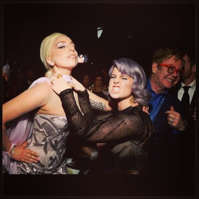 """Kelly Osbourne and Lady Gaga goofed off during Elton John's viewing party, saying, """"#peace at last."""" Source: Instagram user kellyosbourne"""