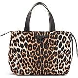 Prada Leopard Print Nylon Top Handle Bag