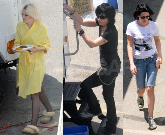 Photos of Kristen, Joan and Dakota on Set