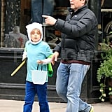 James Wilkie Broderick walked around NYC with his dad, Matthew Broderick, on Halloween.