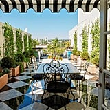 We bet Lauren spent many days out on this breathtaking terrace. The spacious roof garden features black and white marble tiles and numerous plantings.