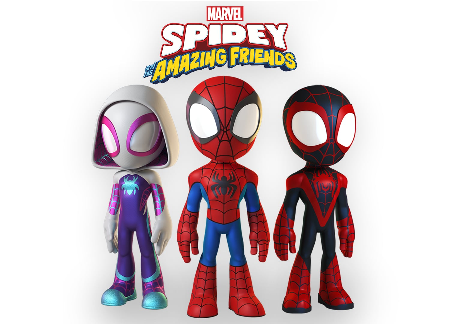 MARVEL'S SPIDEY AND HIS AMAZING FRIENDS - Characters. (Disney Junior)GHOST-SPIDER, SPIDER-MAN AND MILES MORALES
